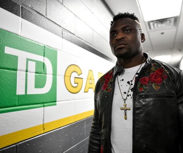 BOSTON, MA - JANUARY 20:  Francis Ngannou of Cameroon arrives backstage during the UFC 220 event at TD Garden on January 20, 2018 in Boston, Massachusetts. (Photo by Brandon Magnus/Zuffa LLC/Zuffa LLC via Getty Images)