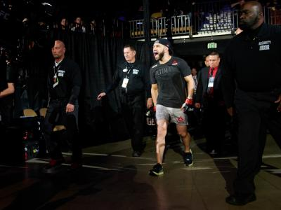 AUSTIN, TX - FEBRUARY 18: Jared Gordon walks to the Octagon before fighting Carlos Diego Ferreira during the UFC Fight Night event at Frank Erwin Center on February 18, 2018 in Austin, Texas. (Photo by Cooper Neill/Zuffa LLC/Zuffa LLC via Getty Images)