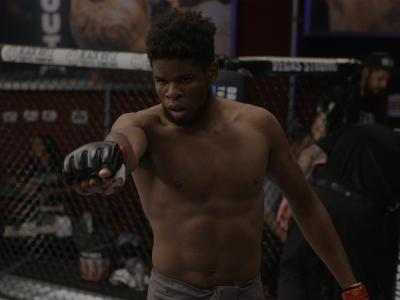 LAS VEGAS, NV - AUGUST 07: Kennedy Nzechukwu celebrates after his TKO victory over Dennis Bryant in their light heavyweight fight during Dana White's Tuesday Night Contender Series at the TUF Gym on August 7, 2018 in Las Vegas, Nevada. (Photo by Chris Unger/DWTNCS LLC)