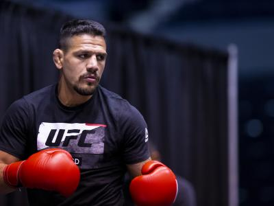ROCHESTER, NY - MAY 15: Rafael Dos Anjos participates in the UFC Fight Night Dos Anjos v Lee: Open Workouts at Blue Cross Arena on May 15, 2019 in Rochester, New York. (Photo by Brett Carlsen/Zuffa LLC/Zuffa LLC via Getty Images)