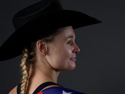 PHOENIX, ARIZONA - FEBRUARY 17: Andrea Lee poses for a portrait backstage during the UFC Fight Night event at Talking Stick Resort Arena on February 17, 2019 in Phoenix, Arizona. (Photo by Mike Roach/Zuffa LLC/Zuffa LLC via Getty Images)