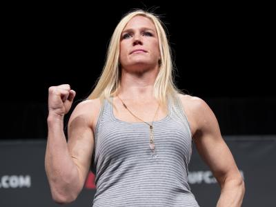 ATLANTA, GA - APRIL 12: Holly Holm poses for photos during the UFC Seasonal Press Conference at State Farm Arena on April 12, 2019 in Atlanta, Georgia. (Photo by Carmen Mandato/Zuffa LLC via Getty Images)