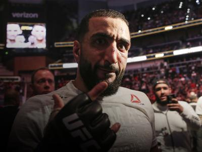 ATLANTA, GA - APRIL 13: Belal Muhammad reacts after defeating Curtis Millender in their welterweight bout during the UFC 236 event at State Farm Arena on April 13, 2019 in Atlanta, Georgia. (Photo by Carmen Mandato/Zuffa LLC via Getty Images)