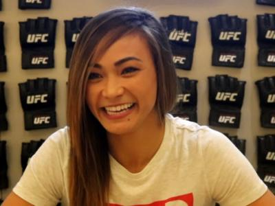 Michelle Waterson does interviews ahead of her UFC 229 bout with Felice Herrig. October 2, 2018. (Photo by Steve Latrell/Zuffa LLC)