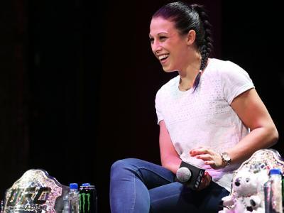 SYDNEY, AUSTRALIA - SEPTEMBER 17:  Joanna Jedrzejczyk speaks during a UFC 193 Sydney Fan Event on September 17, 2015 in Sydney, Australia.  (Photo by Brendon Thorne/Zuffa LLC/Zuffa LLC via Getty Images)