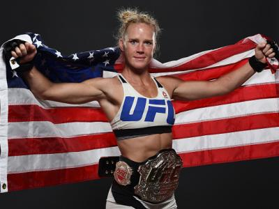 MELBOURNE, AUSTRALIA - NOVEMBER 15:  UFC women's bantamweight champion Holly Holm poses backstage for a post-fight portrait after the UFC 193 event at Etihad Stadium on November 15, 2015 in Melbourne, Australia. Holly Holm defeated Ronda Rousey by KO in s