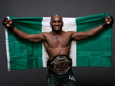 Kamaru Usman of Nigeria poses for a portrait backstage during the UFC 235