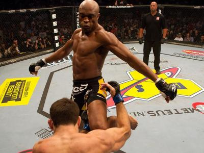Anderson Silva (black/yellow) def. Demian Maia (white shorts) - Unanimous Decision during UFC 112