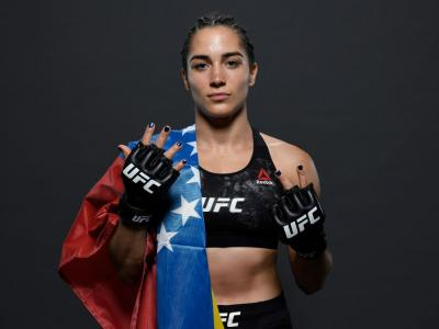 Veronica Macedo of Venezuela poses for a portrait backstage after her victory during the UFC Fight Night