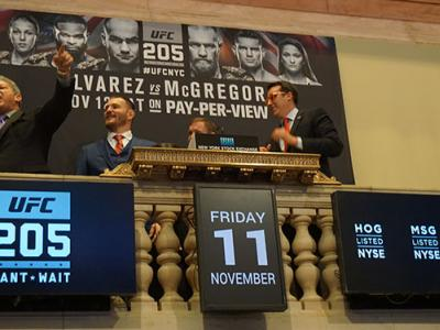 NYSE closing bell ceremony Nov. 11 2016 Bruce Buffer Stipe Miocic Matt Hughes (Photo credit: Nancy Gay)