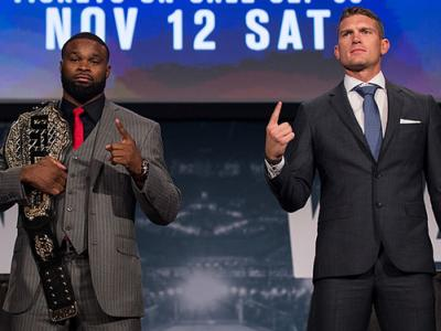 NEW YORK, NY - SEPTEMBER 27: (L-R) UFC welterweight champion Tyron Woodley and Stephen Thompson pose for a picture during the UFC 205 press event at Madison Square Garden on September 27, 2016 in New York City. (Photo by Brandon Magnus/Zuffa LLC/Zuffa LLC