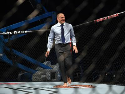 LAS VEGAS, NV - MARCH 03:  Georges St-Pierre of Canada warms up in the Octagon prior to the UFC press conference at T-Mobile arena on March 3, 2017 in Las Vegas, Nevada. (Photo by Jeff Bottari/Zuffa LLC/Zuffa LLC via Getty Images)