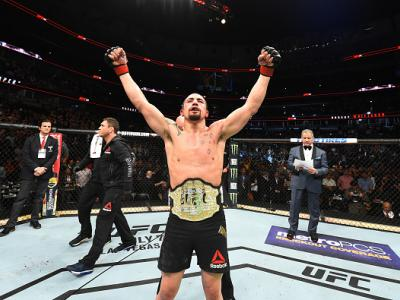 CHICAGO, ILLINOIS - JUNE 09:  Robert Whittaker of New Zealand celebrates after defeating Yoel Romero of Cuba by split decision in their middleweight fight during the UFC 225 event at the United Center on June 9, 2018 in Chicago, Illinois. (Photo by Josh H