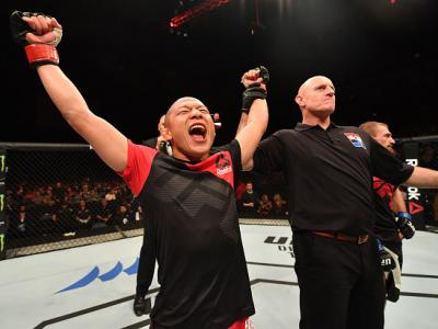 BELFAST, NORTHERN IRELAND - NOVEMBER 19:  Kyoji Horiguchi of Japan celebrates his unanimous-decision victory over Ali Bagautinov of Russia in their flyweight bout during the UFC Fight Night at the SSE Arena on November 19, 2016 in Belfast, Northern Irelan