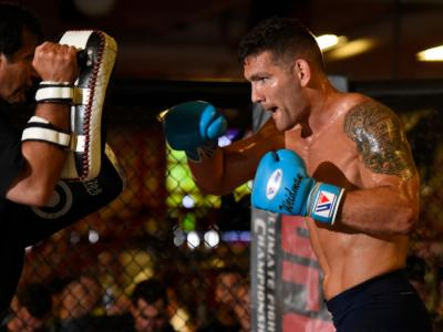 NEW HYDE PARK, NEW YORK - JULY 20:  Chris Weidman holds an open workout session for fans and media at the UFC Gym July 20, 2017 in New Hyde Park, New York. (Photo by Josh Hedges/Zuffa LLC/Zuffa LLC via Getty Images)