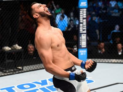 OKLAHOMA CITY, OK - JUNE 25:   Dominick Reyes celebrates his knockout victory over Joachim Christensen of Denmark in their light heavyweight bout during the UFC Fight Night event at the Chesapeake Energy Arena on June 25, 2017 in Oklahoma City, Oklahoma.