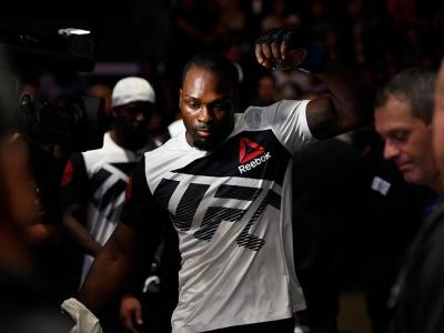 HIDALGO, TX - SEPTEMBER 17:   Derek Brunson prepares to enter the Octagon before facing Uriah Hall of Jamaica in their middleweight bout during the UFC Fight Night event at State Farm Arena on September 17, 2016 in Hidalgo, Texas. (Photo by Josh Hedges/Zu