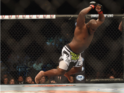 LAS VEGAS, NV - JULY 06:  Derrick Lewis celebrates after defeating Guto Inocente in their middleweight fight during the Ultimate Fighter Finale inside the Mandalay Bay Events Center on July 6, 2014 in Las Vegas, Nevada.  (Photo by Jeff Bottari/Zuffa LLC/Z