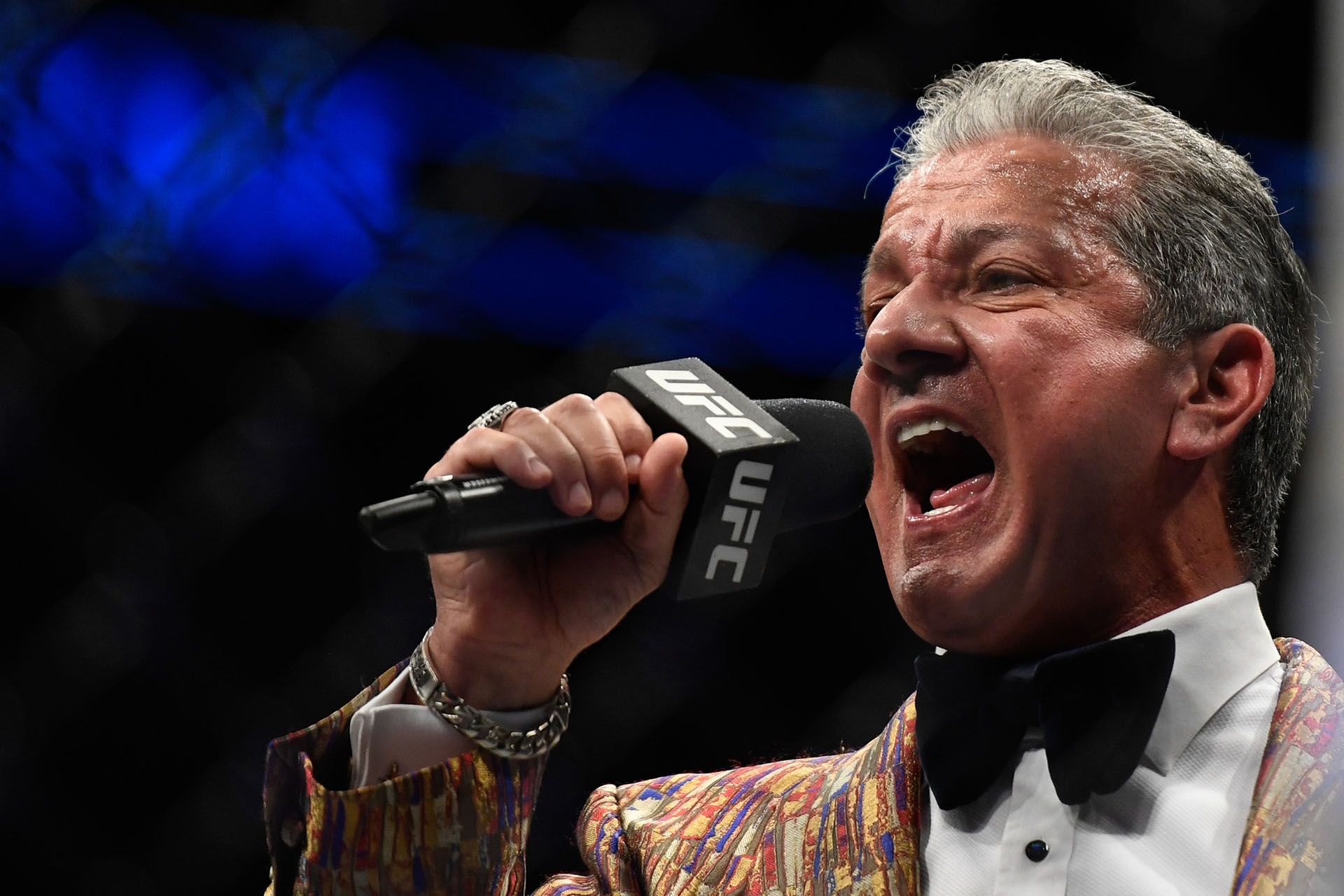 UFC Octagon announcer Bruce Buffer introduces Justin Gaethje (not pictured) of the United States and Tony Ferguson (not pictured) of the United States prior to their Interim lightweight title fight during UFC 249 at VyStar Veterans Memorial Arena on May 9, 2020 in Jacksonville, Florida. (Photo by Douglas P. DeFelice/Getty Images)