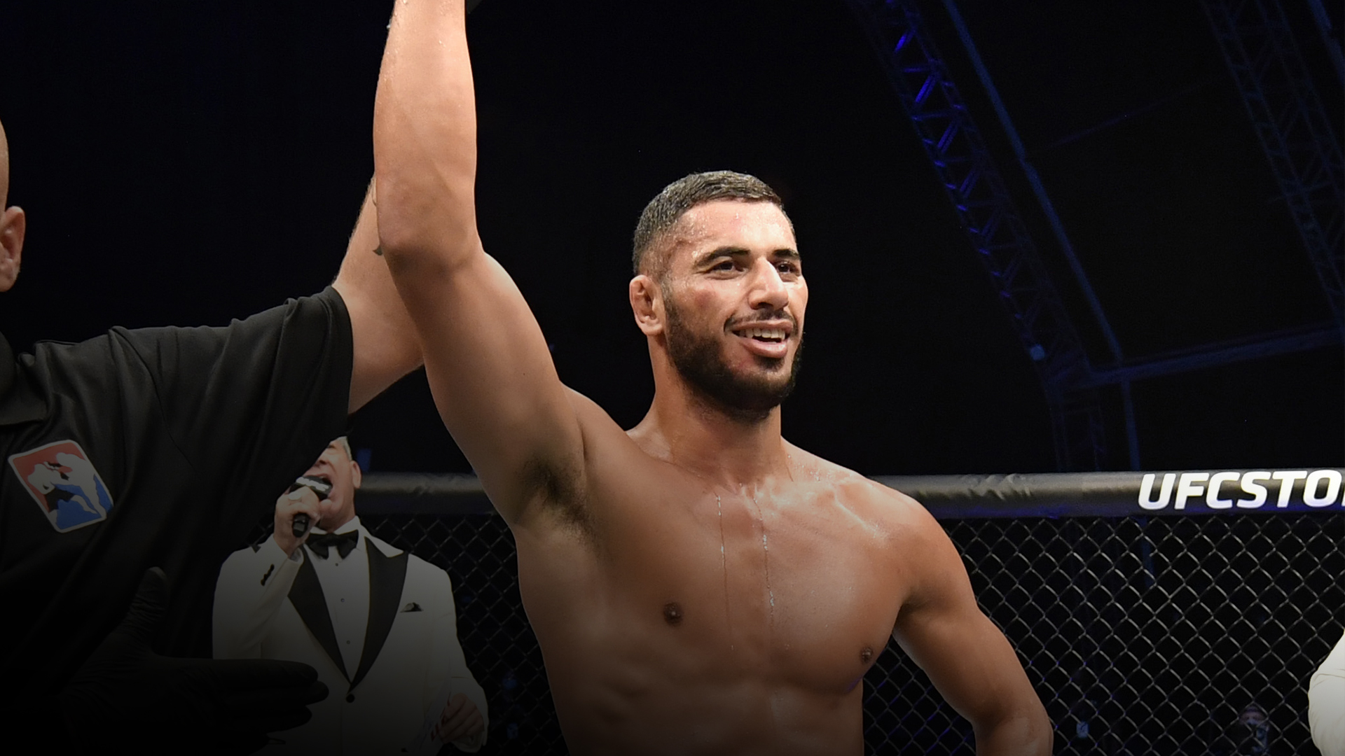 Mounir Lazzez celebrates after his unanimous-decision victory over Abdul Razak Alhassan in their welterweight fight during the UFC Fight Night event inside Flash Forum on UFC Fight Island on July 16, 2020 in Yas Island, Abu Dhabi, United Arab Emirates. (Photo by Jeff Bottari/Zuffa LLC)