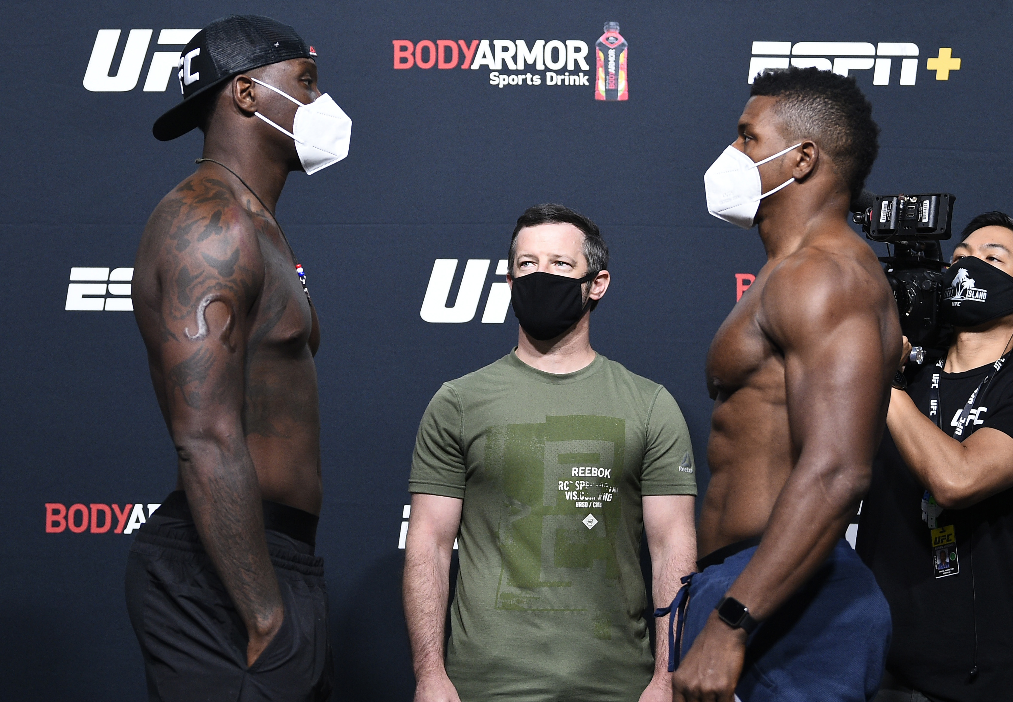 Opponents Ovince Saint Preux and Alonzo Menifield face off during the UFC Fight Night weigh-in at UFC APEX on August 21, 2020 in Las Vegas, Nevada. (Photo by Chris Unger/Zuffa LLC via Getty Images)