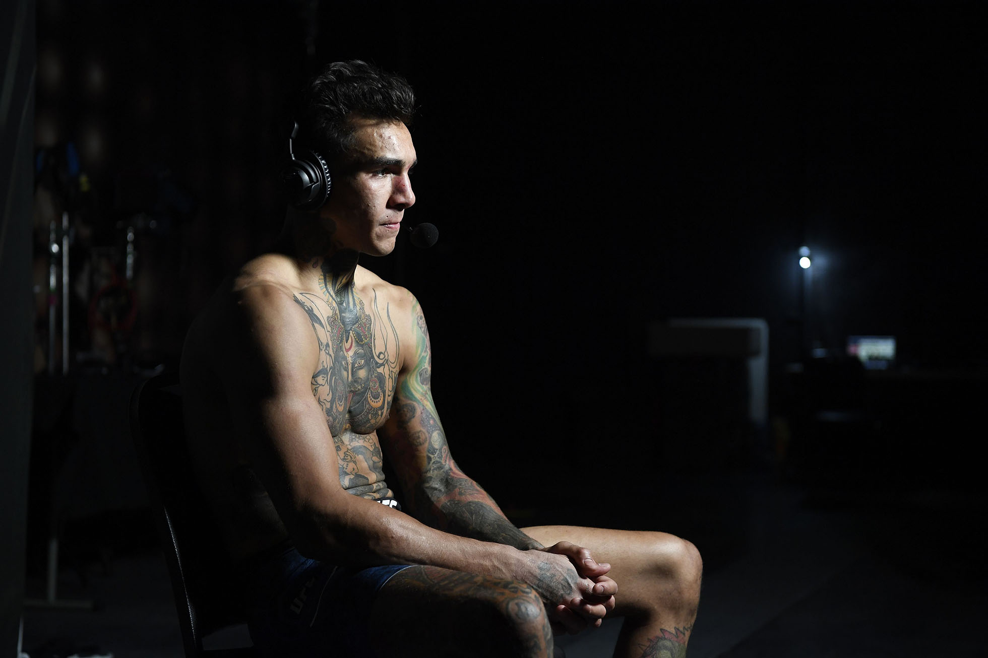 Andre Fili is interviewed backstage during the UFC Fight Night event at UFC APEX on June 13, 2020 in Las Vegas, Nevada. (Photo by Mike Roach/Zuffa LLC)