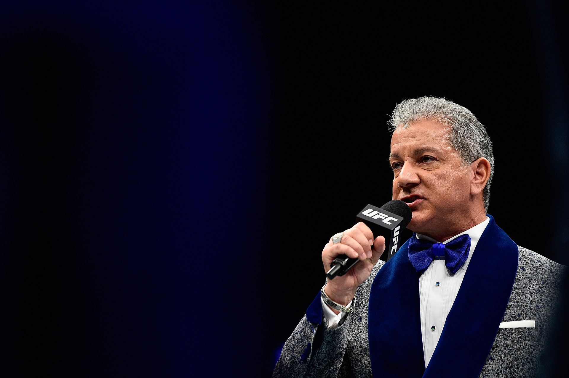 Bruce Buffer introduces the fighters prior to their welterweight bout between Randy Brown of Jamaica and Mickey Gall during the UFC 217 event at Madison Square Garden on November 4, 2017 in New York City. (Photo by Jeff Bottari/Zuffa LLC)