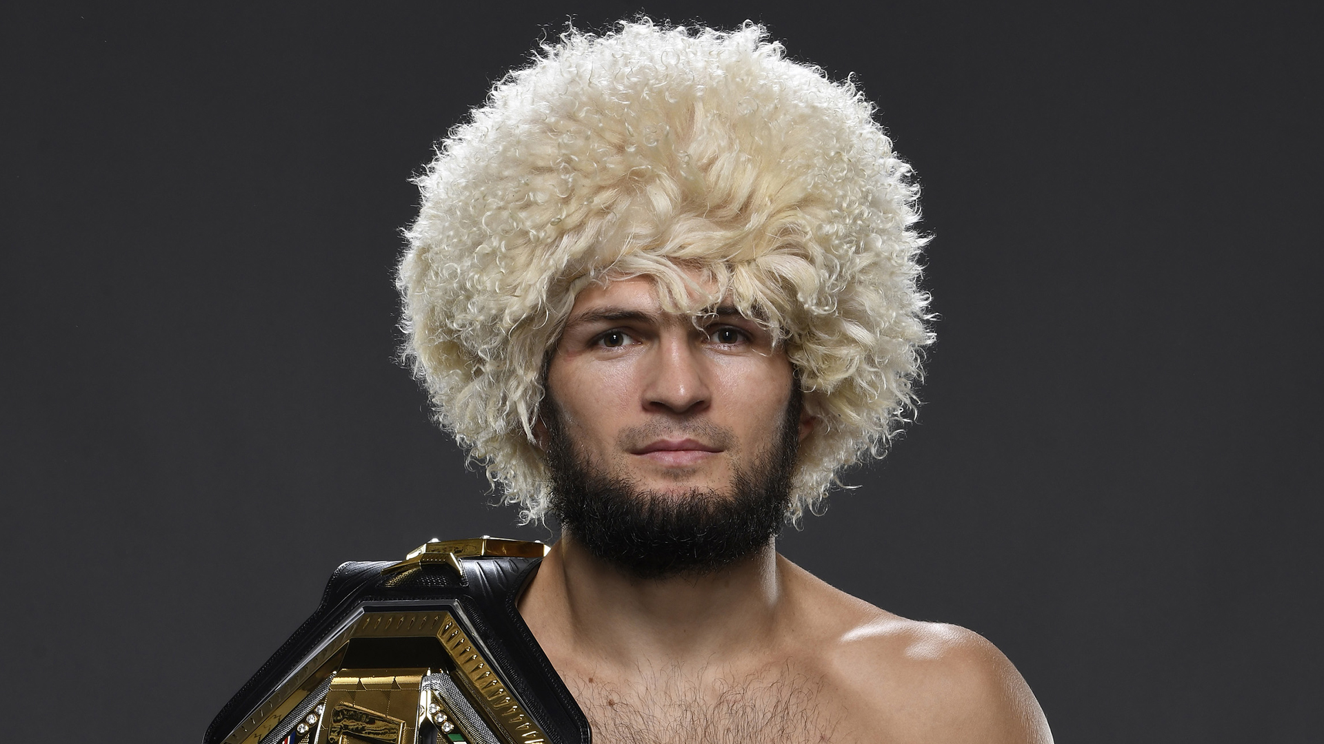 Khabib Nurmagomedov of Russia poses for a portrait backstage during the UFC 254 event on October 24, 2020 on UFC Fight Island, Abu Dhabi, United Arab Emirates. (Photo by Mike Roach/Zuffa LLC via Getty Images)