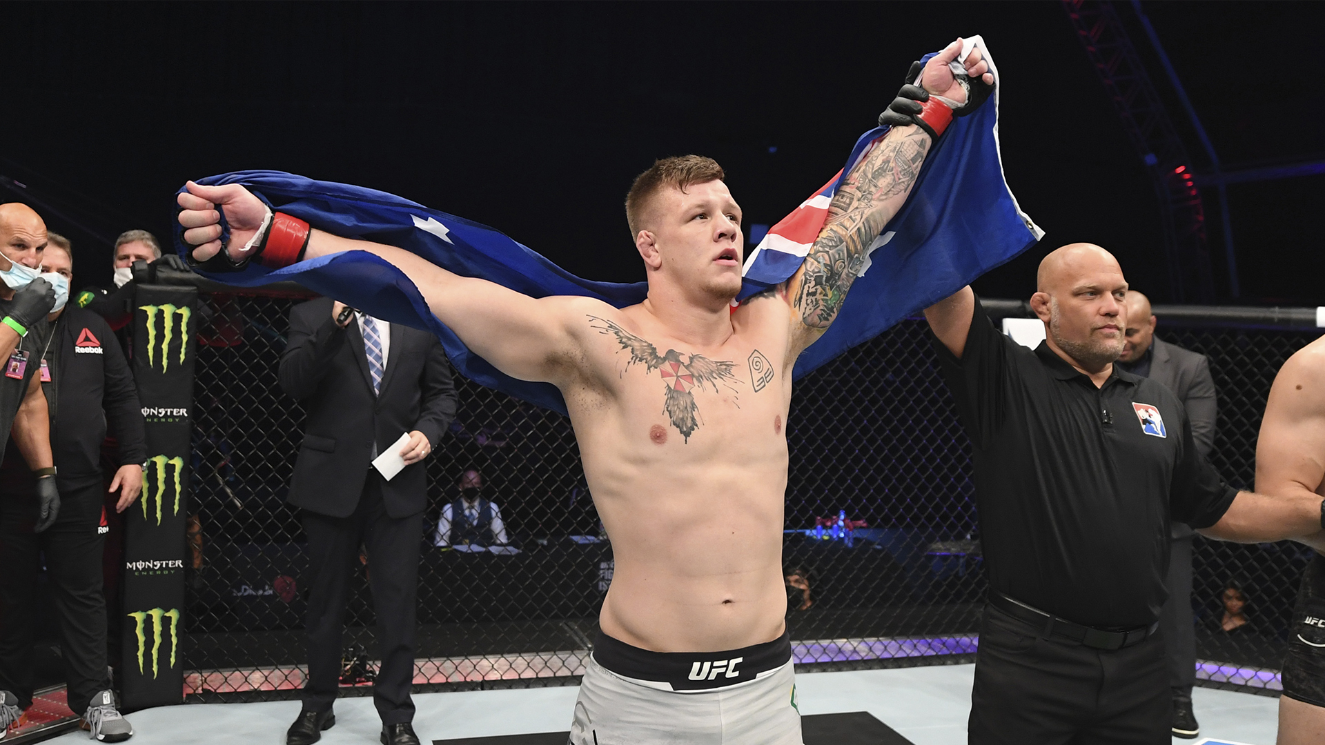 Jimmy Crute of Australia celebrates his victory over Modestas Bukauskas of Lithuania in their light heavyweight bout during the UFC Fight Night event inside Flash Forum on UFC Fight Island on October 18, 2020 in Abu Dhabi, United Arab Emirates. (Photo by Josh Hedges/Zuffa LLC via Getty Images)