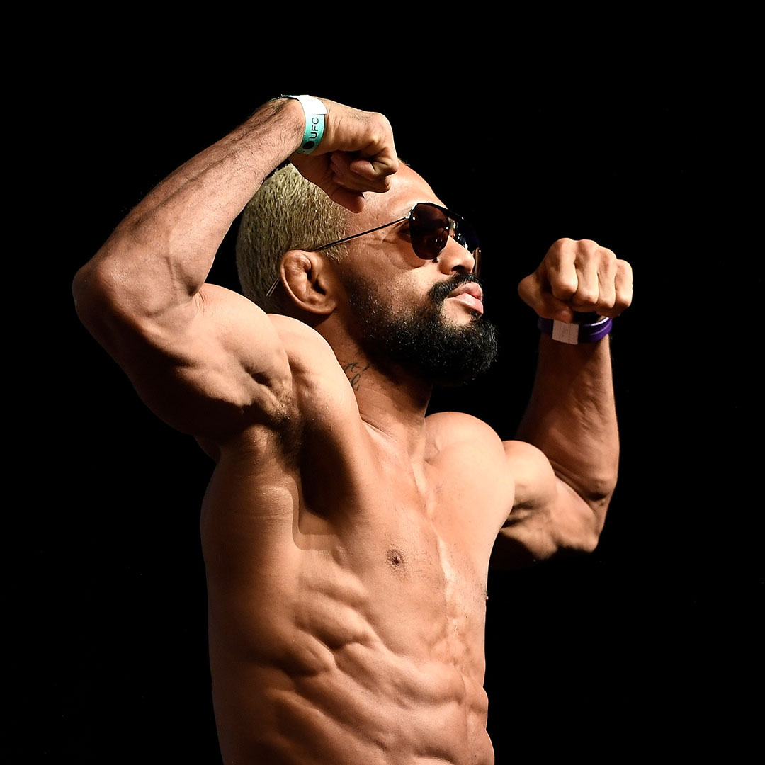 Deiveson Figueiredo of Brazil poses on the scale during the UFC Fight Night ceremonial weigh-in at Chartway Arena on February 28, 2020 in Norfolk, Virginia. (Photo by Mike Roach/Zuffa LLC)