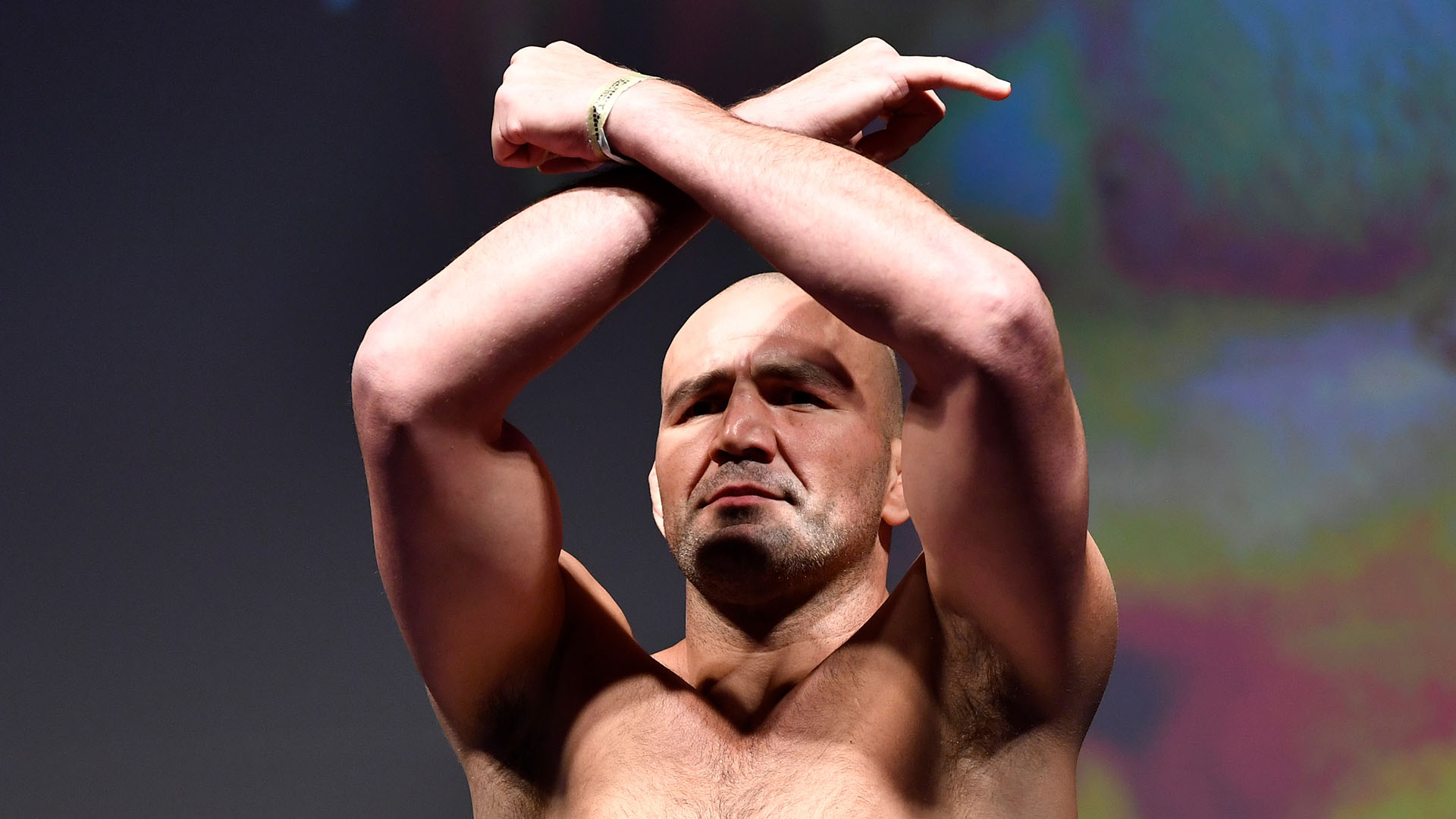 Glover Teixeira of Brazil poses on the scale during the UFC Fight Night weigh-in at Rogers Arena on September 13, 2019 in Vancouver, British Columbia, Canada. (Photo by Jeff Bottari/Zuffa LLC)
