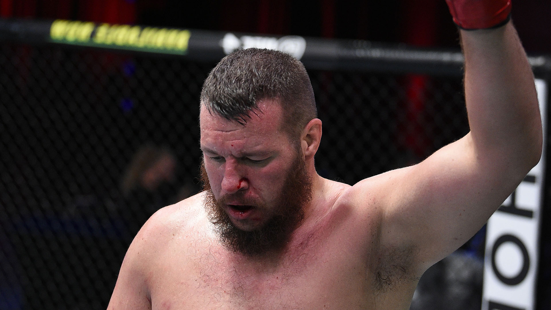 Josh Parisian reacts after his victory over Chad Johnson in a heavyweight bout during week three of Dana White's Contender Series Season 4 at UFC APEX on August 18, 2020 in Las Vegas, Nevada. (Photo by Chris Unger/DWCS LLC/Zuffa LLC)