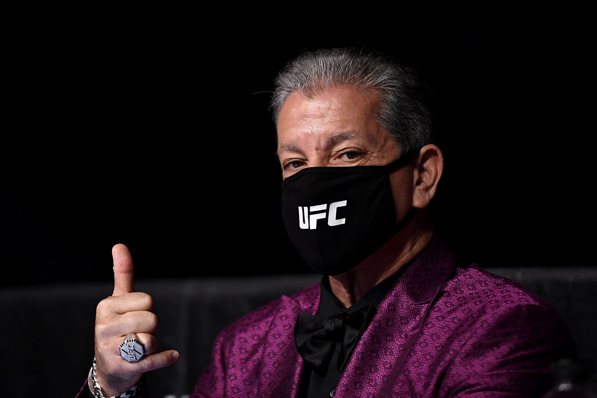 UFC Announcer Bruce Buffer poses with a protective face mask during UFC Fight Night at VyStar Veterans Memorial Arena on May 16, 2020 in Jacksonville, Florida. (Photo by Douglas P. DeFelice/Getty Images)