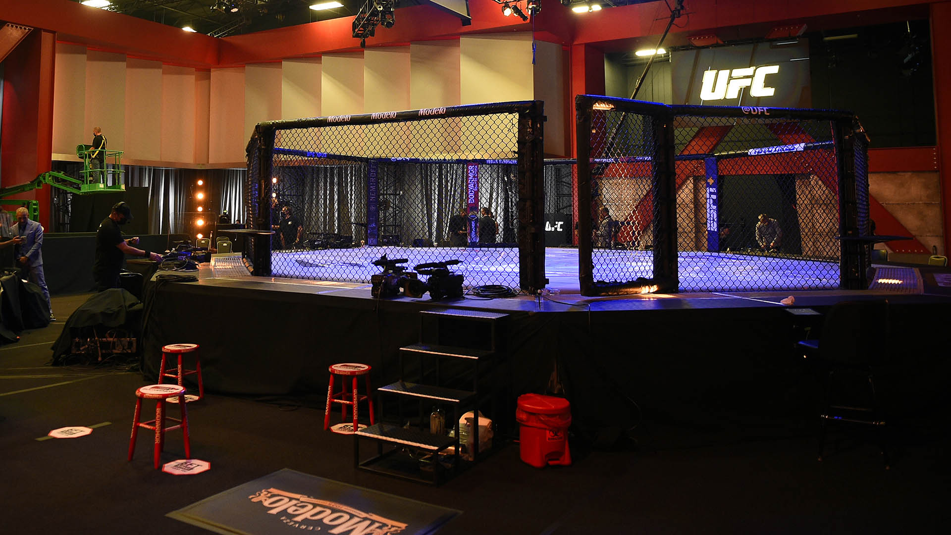 A general view of the Octagon prior to the UFC 252 event at UFC APEX on August 15, 2020 in Las Vegas, Nevada. (Photo by Chris Unger/Zuffa LLC)