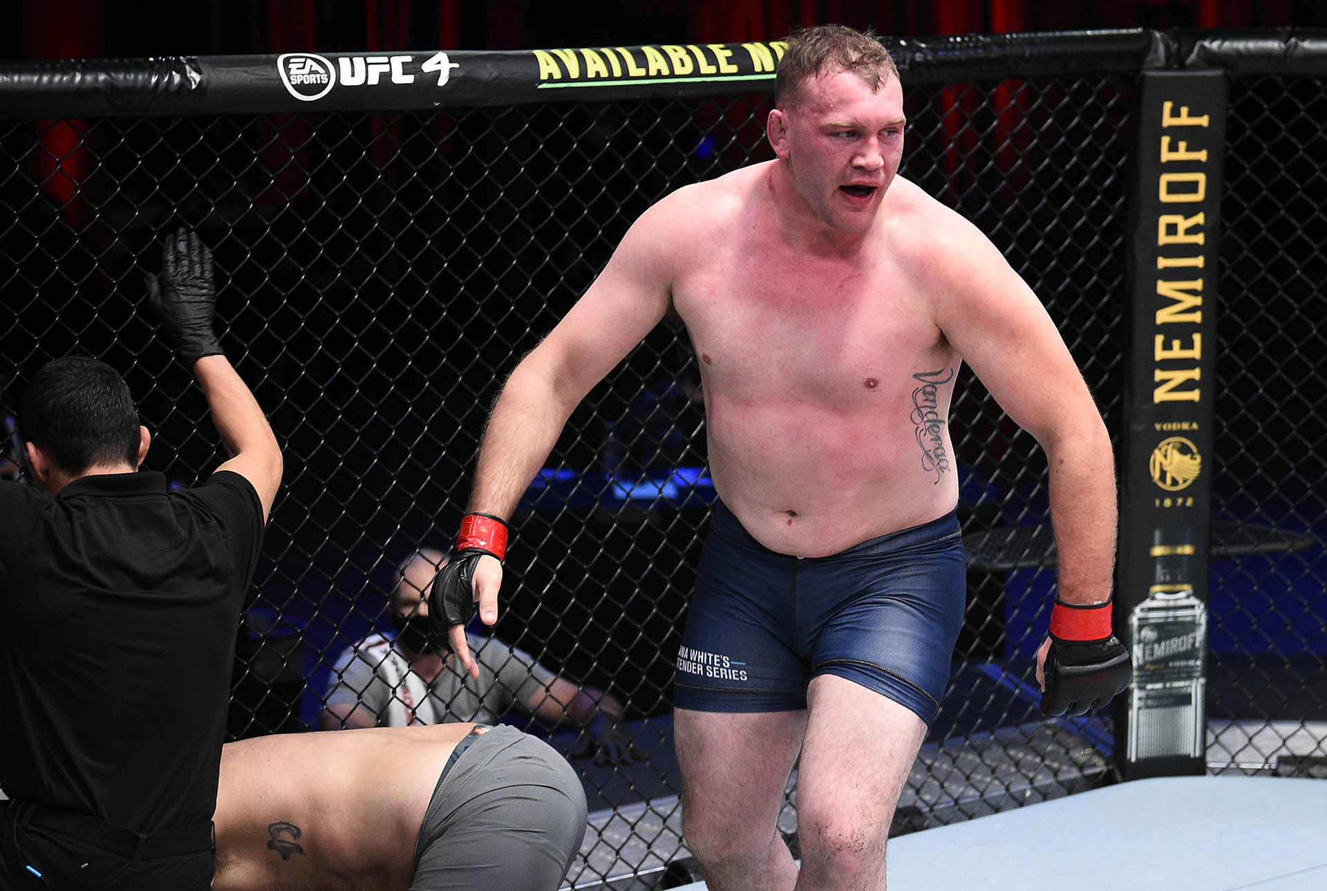 Jared Vanderaa reacts after his victory over Harry Hunsucker in a heavyweight fight during Dana White's Contender Series season four, week eight at UFC APEX on November 04, 2020 in Las Vegas, Nevada. (Photo by Chris Unger/DWCS LLC/Zuffa LLC)