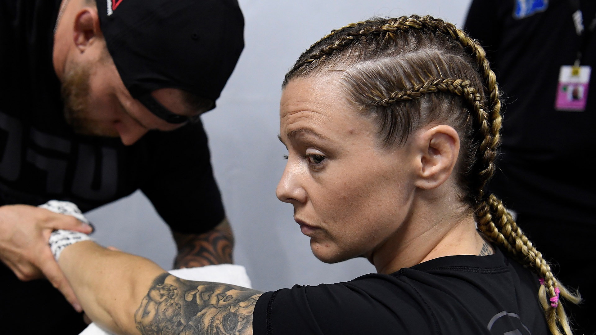 Joanne Calderwood of United Kingdom has her hands wrapped backstage during UFC 242 at The Arena on September 7, 2019 in Yas Island, Abu Dhabi, United Arab Emirates. (Photo by Mike Roach/Zuffa LLC)