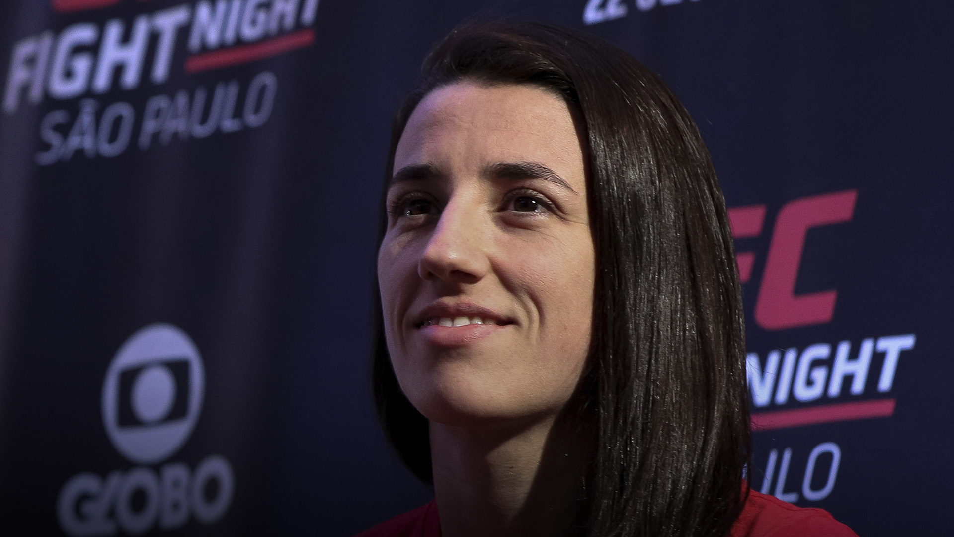 Marina Rodriguez of Brazil interacts with media during the UFC Fight Night ultimate media day at Pestana Hotel on September 20, 2018 in Sao Paulo, Brazil. (Photo by Buda Mendes/Zuffa LLC)