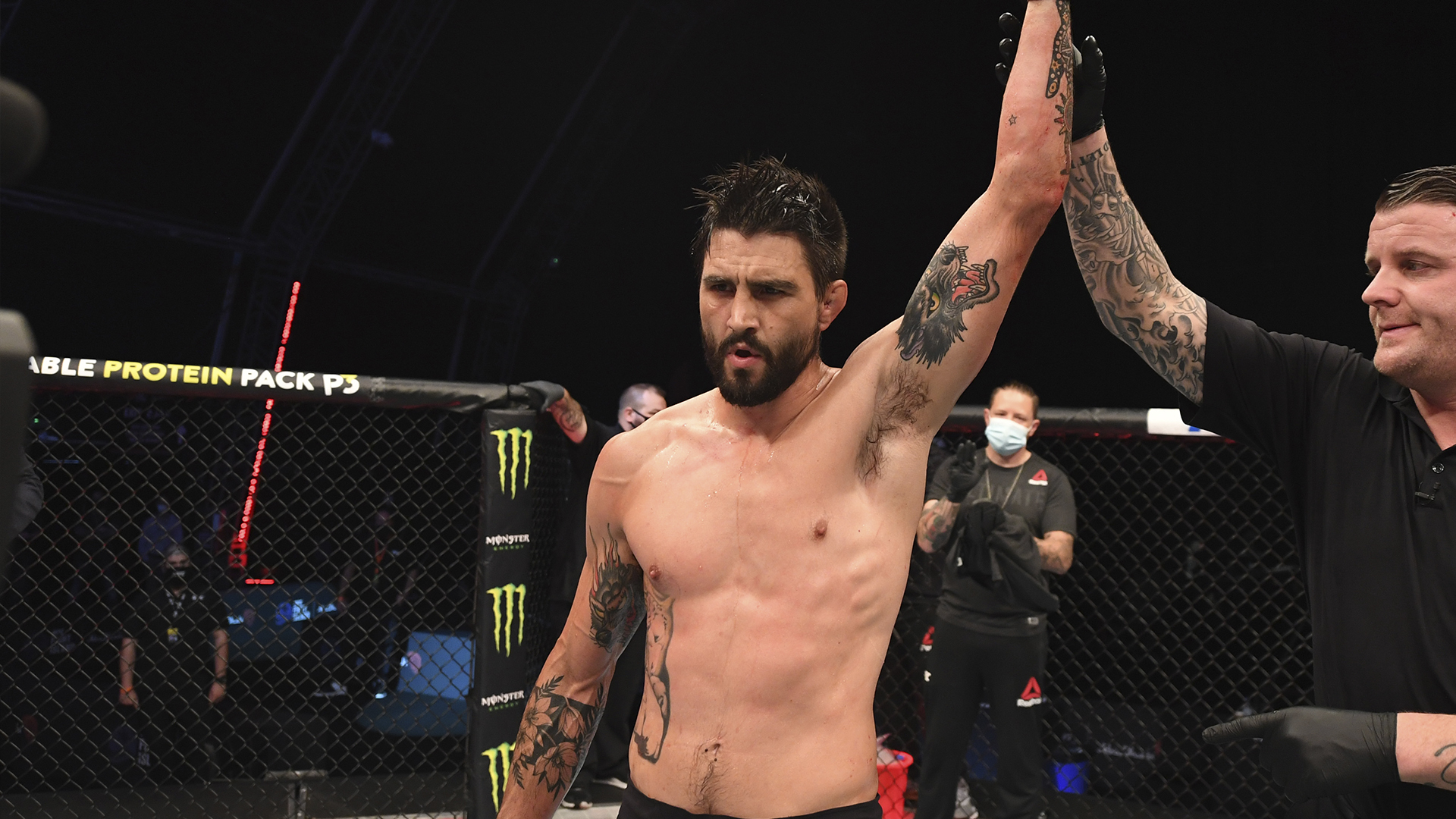 Carlos Condit reacts after defeating Court McGee in their welterweight bout during the UFC Fight Night event inside Flash Forum on UFC Fight Island on October 04, 2020 in Abu Dhabi, United Arab Emirates. (Photo by Josh Hedges/Zuffa LLC)