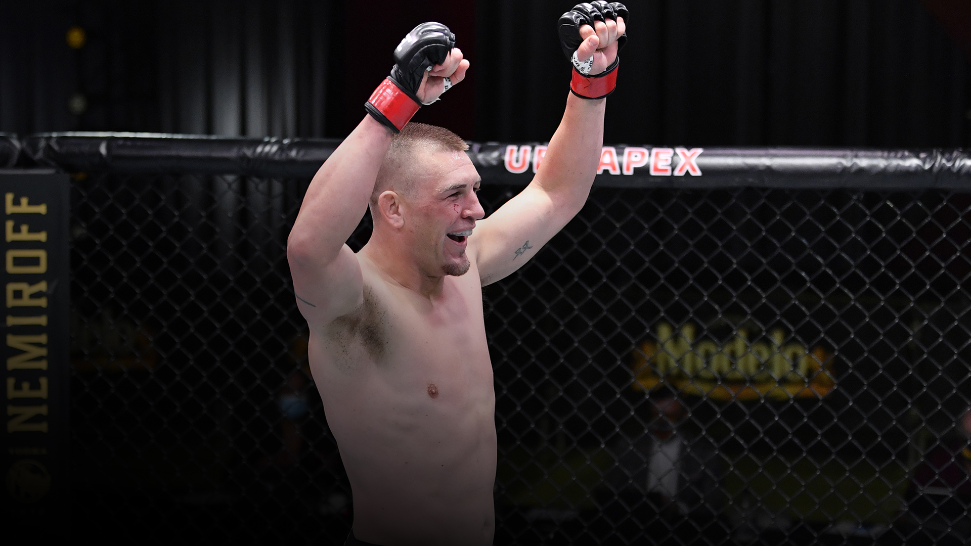 Dustin Jacoby celebrates after his TKO victory over Justin Ledet in a light heavyweight bout during the UFC Fight Night event at UFC APEX on October 31, 2020 in Las Vegas, Nevada