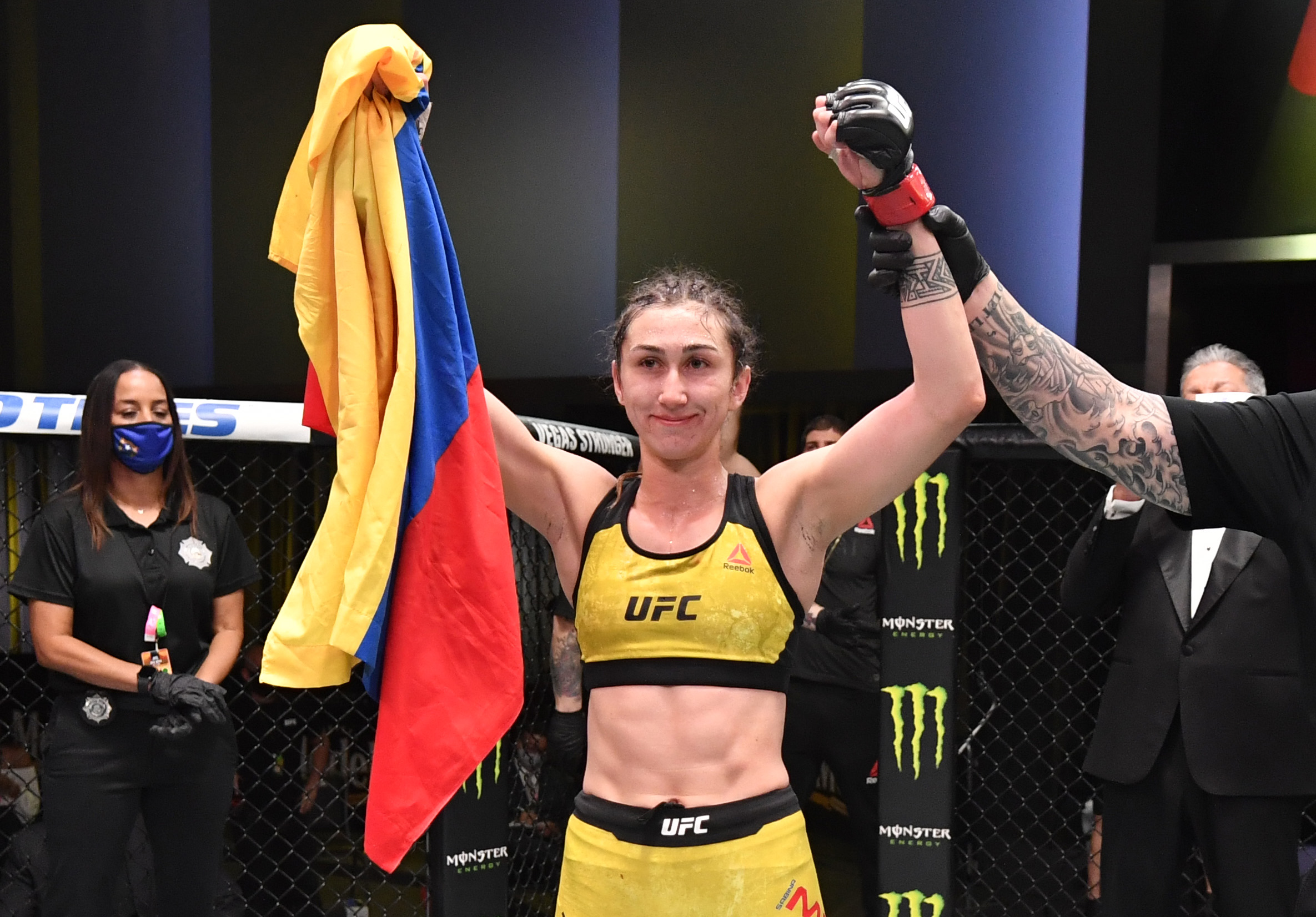 Sabina Mazo of Colombia reacts after her submission victory over Justine Kish of Russia in a flyweight fight during the UFC Fight Night event at UFC APEX on September 12, 2020 in Las Vegas, Nevada. (Photo by Jeff Bottari/Zuffa LLC)