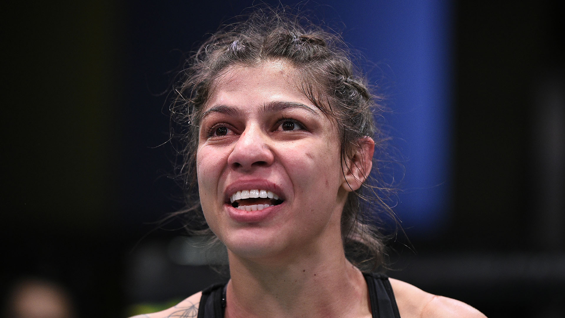 Mayra Bueno Silva of Brazil reacts after her submission victory over Mara Romero Borella in their flyweight bout during the UFC Fight Night event at UFC APEX on September 19, 2020 in Las Vegas, Nevada. (Photo by Chris Unger/Zuffa LLC)