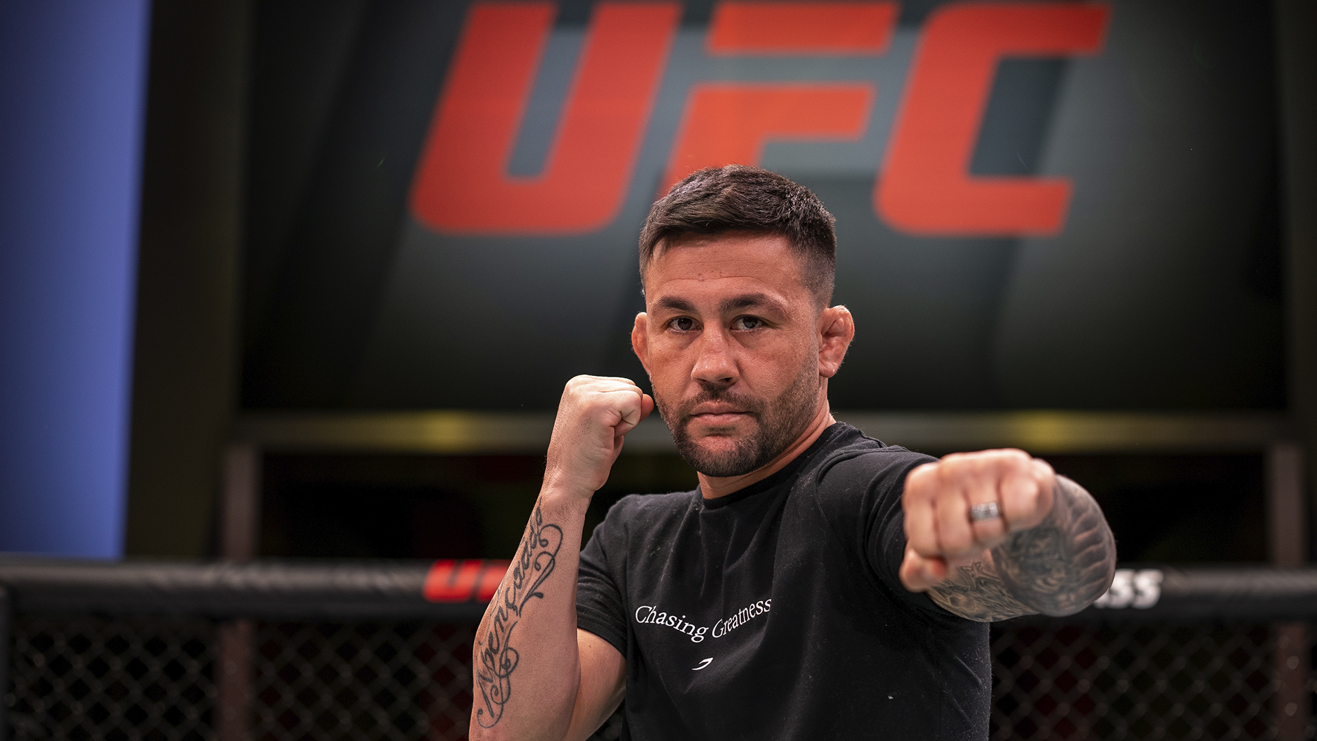 Pedro Munhoz poses for a photo inside the UFC APEX during UFC Fight Night: Rozenstruik Vs Gane media day (Photo by Nolan Walker/Zuffa LLC)