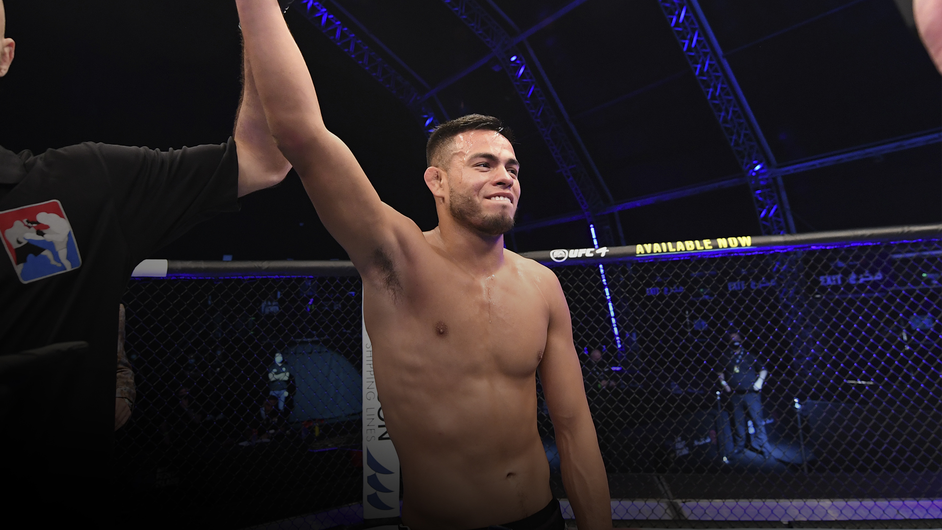 Brandon Royval celebrates after defeating Kai Kara France of New Zealandin their flyweight bout during UFC 253 inside Flash Forum on UFC Fight Island on September 27, 2020 in Abu Dhabi, United Arab Emirates. (Photo by Josh Hedges/Zuffa LLC)