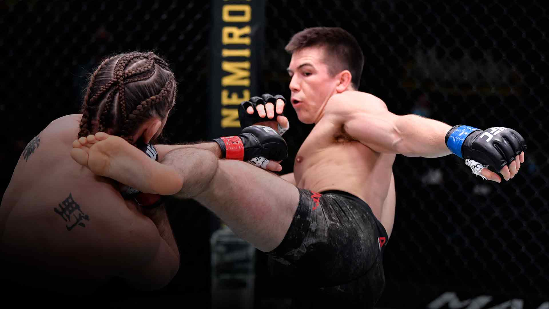 Alexander Hernandez kicks Chris Gruetzemacher in a lightweight bout during the UFC Fight Night event at UFC APEX on October 31, 2020 in Las Vegas, Nevada. (Photo by Jeff Bottari/Zuffa LLC)