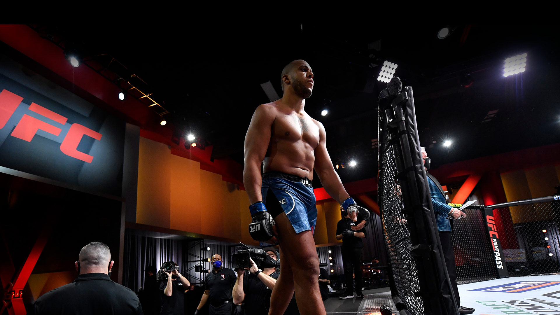 Ciryl Gane of France prepares to enter the Octagon prior to his heavyweight bout against Junior Dos Santos of Brazil during the UFC 256 event at UFC APEX on December 12, 2020 in Las Vegas, Nevada. (Photo by Jeff Bottari/Zuffa LLC)
