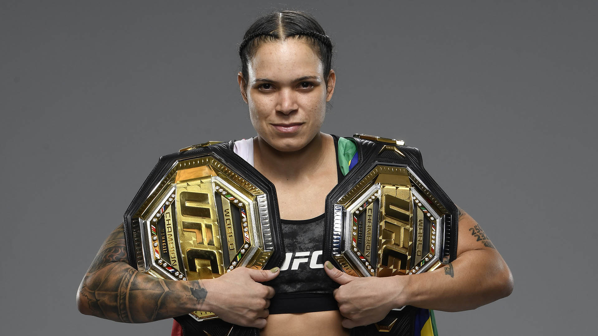 Amanda Nunes of Brazil poses for a portrait after her victory during the UFC 259 event at UFC APEX on March 06, 2021 in Las Vegas, Nevada. (Photo by Mike Roach/Zuffa LLC)
