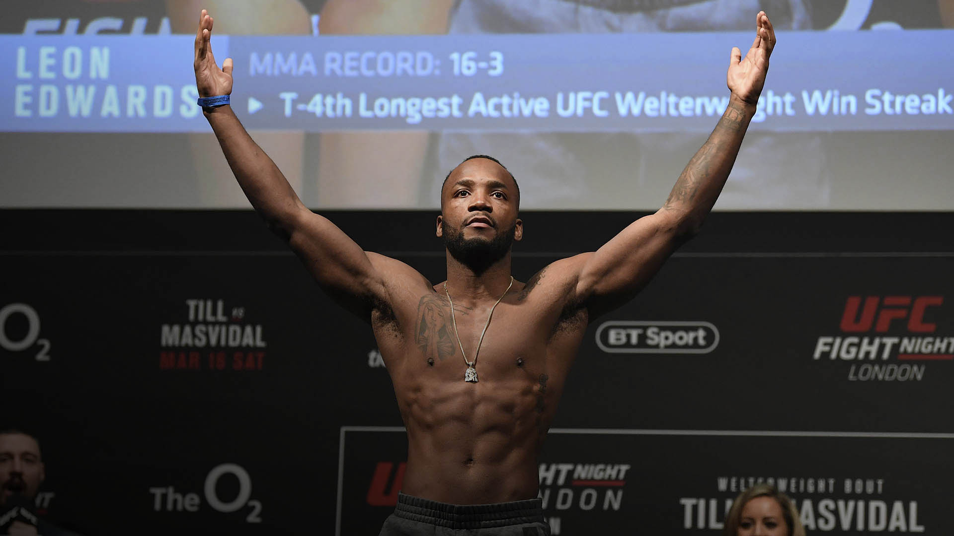 Leon Edwards of United Kingdom poses on the scale during the UFC Fight Night weigh-in at The O2 on March 15, 2019 in London, England. (Photo by Jeff Bottari/Zuffa LLC)
