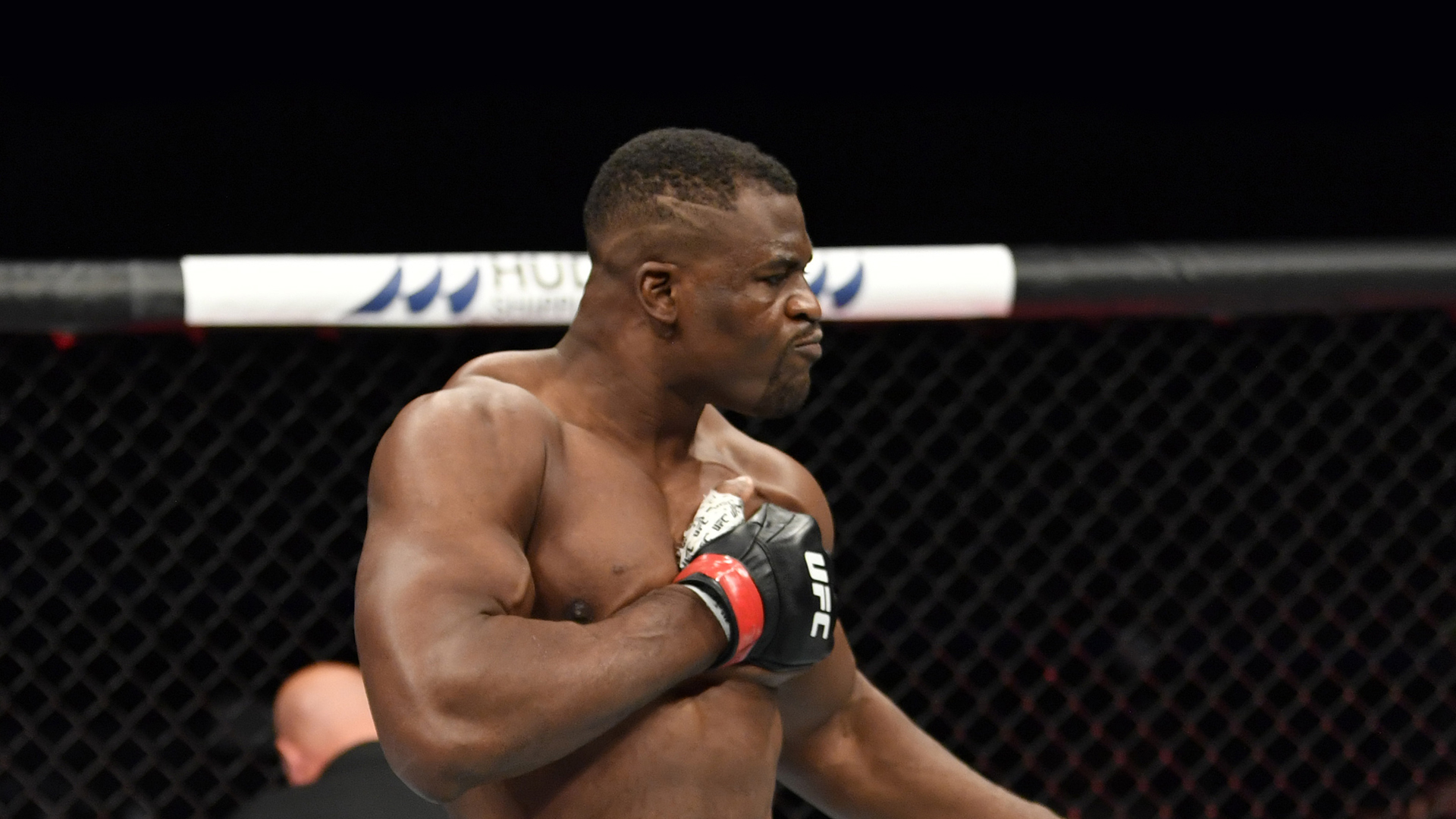 Francis Ngannou of Cameroon celebrates after his knockout victory over Jairzinho Rozenstruik of Suriname in their heavyweight fight during the UFC 249 event at VyStar Veterans Memorial Arena on May 09, 2020 in Jacksonville, Florida. (Photo by Jeff Bottari/Zuffa LLC)