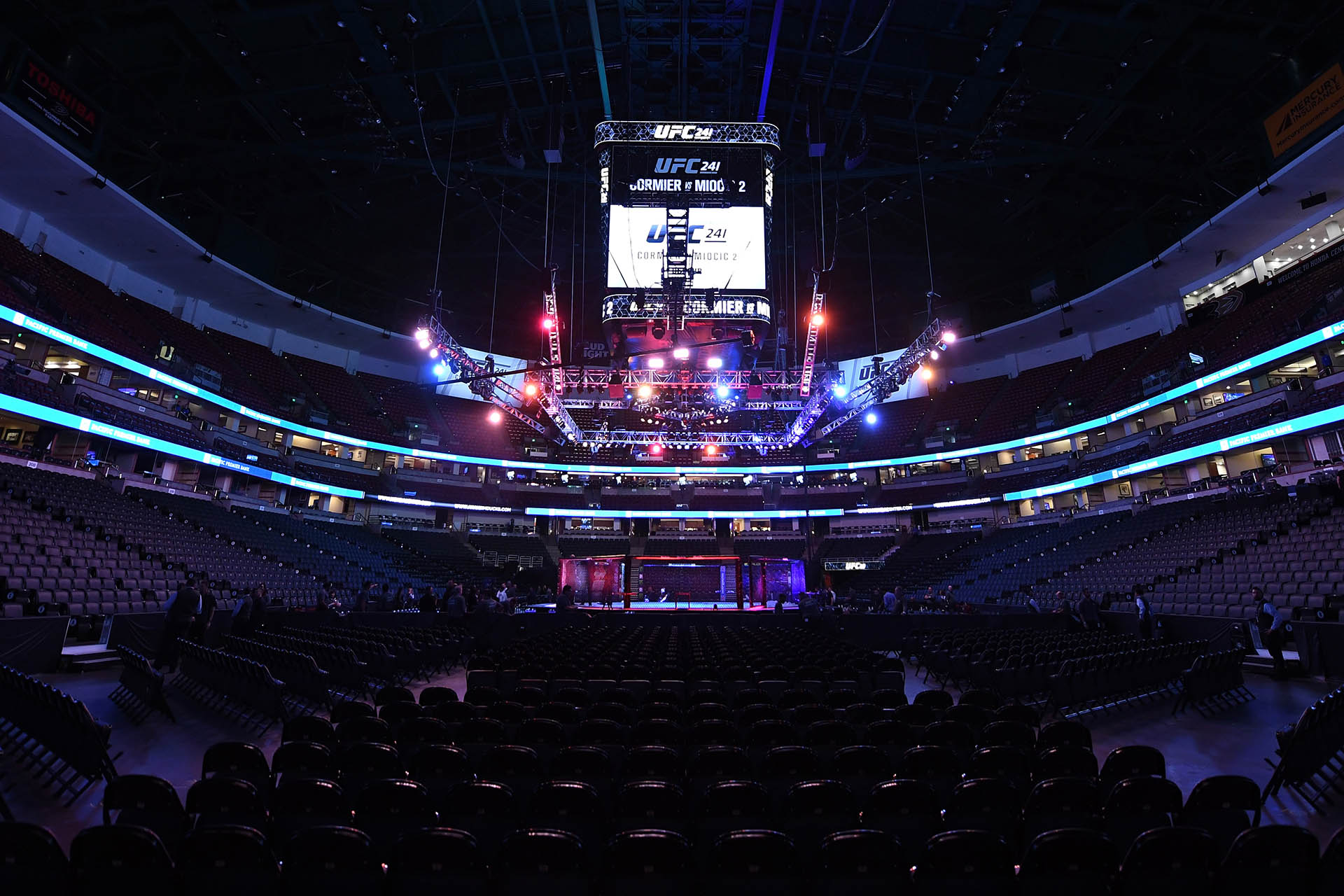 A general view of the Octagon prior to the UFC 241 event at the Honda Center on August 17, 2019 in Anaheim, California. (Photo by Josh Hedges/Zuffa LLC/Zuffa LLC via Getty Images)