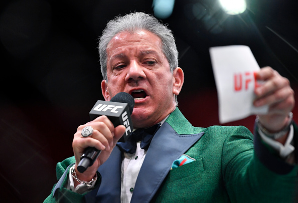 Octagon announcer Bruce Buffer introduces a fighter during the UFC 259 event at UFC APEX on March 06, 2021 in Las Vegas, Nevada. (Photo by Chris Unger/Zuffa LLC)